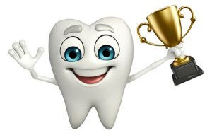 cartoon character of teeth with trophy